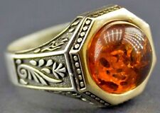 Sterling silver men ring handmade, amber created stone, custom design customizat