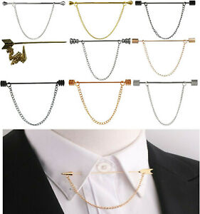 Collar Pin Screw TIP NEW Shirt Stainless Steel 6CM Tie Bar FREE Removable CHAIN