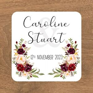 Personalised Stickers Wedding Favour Labels 15 SQUARE STICKERS 51MM (ES-004)