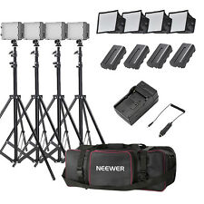 Neewer 4 Set CN-160 LED Camera Camcorder Video Light Kit with Light Stand & Bag