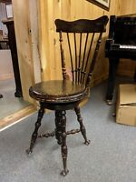 BEAUTIFUL RARE Antique Wooden Piano Organ Stool with High Back Ball + Claw Foot
