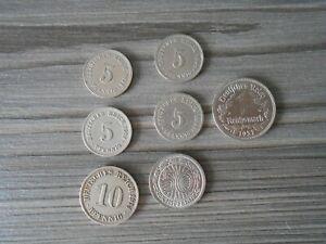 7 X Old German Coins Some Rare Reichmarks Pfennig..1894 -1937