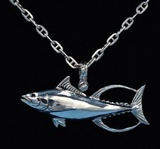 .925 Sterling Silver Yellowfin Tuna Necklace With Sapphire Eye