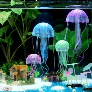 Aquarium Jellyfish Fish Tank Ornament Artificial Glowing Decoration Effect Decor