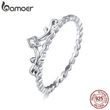 BAMOER Women Finger Ring S925 Sterling silver Pavé Setting CZ The Crown Jewelry