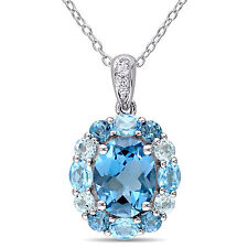 "Sterling Silver Blue and White Topaz Halo Necklace Pendant 18"" Chain"