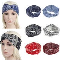 Women Cotton Twisted Hair Wrap Headband Stretch Knot Turban Sport Yoga Hairband