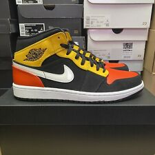 Nike Air Jordan 1 Mid Black Team Orange Amarillo UK 9 EU 44