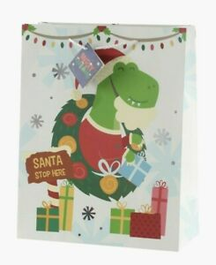 Kids Christmas Gift Bag - Dinosaur Gift Bag - Medium - 33 x 26 cm - Xmas Bag