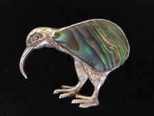 Vintage silver paua shell Kiwi bird brooch