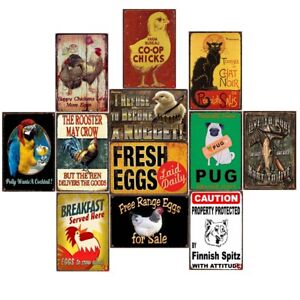 Happy Chickens Lay More Eggs Vintage Metal Tin Signs Bar Art Decor Wall Poster