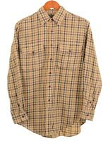 CC Filson Green Yellow Tattersall Check Flannel Twill Utility Guide Shirt S