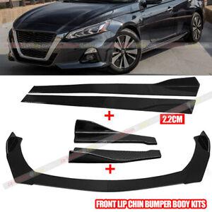 "Carbon Fiber Front Bumper Rear Lip Spoiler & 86.6"" Side Skirt For Nissan Altima"