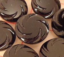 """12 vintage pressed glass black shank buttons spiral design 7/8"""" 22mm #7311 jet"""