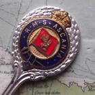 Vintage Cunard White Star Line RMS Ascania Kings Crown Enamel Pennant Spoon z