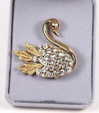 Swan Pin Gold Tone & Crystal Brooch Vintage Costume Jewelry Bling
