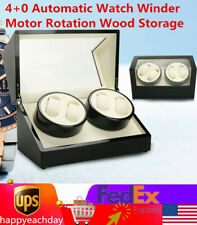 Rotation Storage Grids Wooden Case Shop 4+0 Watch Winder Display Box Automatic