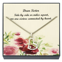 I Love You Sis with CZ Heart Shaped Sisters Pendant Necklace, Sister's Jewelry