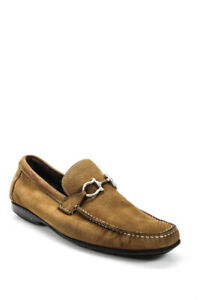 Salvatore Ferragamo Mens Rounded Toe Brown Suede Loafers Flats Size 12 EE