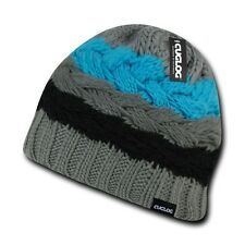 Cuglog St. Helen's Wide Stripped Beanies Winter Caps Hats Ski Skull Grey Teal