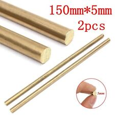 "2pcs 5x150mm 1/4"" Brass Unpolished Solid Round Rod Bar Blank Scales Blade Handle"