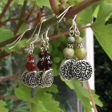 Connemara marble, garnet, carnelian gemstone earrings, Sterling Silver