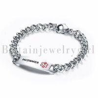 """MEN Women LASER ENGRAVED Emergency Medical Alert Stainless Steel Bracelet 8.7"""""""