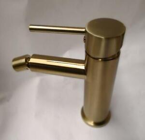 Round brushed gold Bidet Mixer Tap Faucet Adjustable Aerator bench top mount