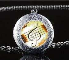 Music note Photo Glass Tibet Silver Chain Locket Pendant Necklace#u4