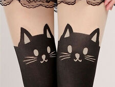 s - COLLANT GATTO LEGGINGS NERI CALZE TATOO PARIGINE TATTOO CAT LEGGINS