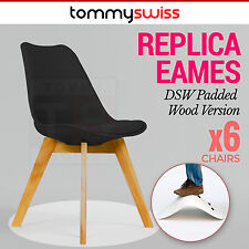 6 x Padded Retro Replica Eames Eiffel DSW Dining Chairs Cafe Kitchen Beech Black