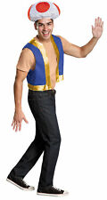 Toad Adult Super Mario Brothers Costume Kit Hat And Vest Halloween Disguise