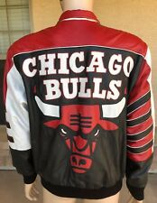 Vintage Chicago Bulls Reversible Leather Jacket Spell Out Big Logo Size Medium