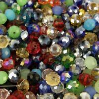 FACETED RONDELLE CRYSTALS GLASS BEADS 8 x 6mm  50 beads Random Mix