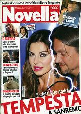 NOVELLA 2000 N°8 - 20/ FEB/2014 * PARIETTI  DE Andrè TEMPESTA A SANREMO *