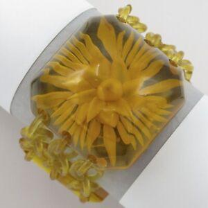 Vtg AppleJuice Bakelite Reverse Carved Celluloid Chain Bracelet