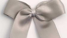 5cm Satin Bows - Silver Self Adhesive Pre Tied 16mm Ribbon Pack 12 FREE P&P