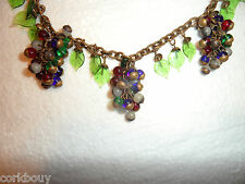 MULTI-COLORED CELLULOID GREEN LEAVES GLASS GRAPES NECKLACE,100% BRASS, ANTIQUE