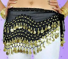 Lot 3 Rows Belly Dance Skirt Wrap Belt Hip-Scarf Dancing Gold Silver Coins New