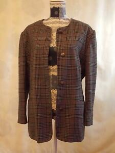 Compliments (Designed to Coordinate) 100% Wool Jacket bust 124cm    Check Long S