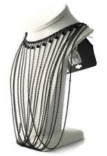 NWT Express Black Rhinestone Multi Strand Collar Choker Necklace
