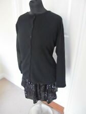 Black Pure Cashmere Cardigan Jumper by Lochmere Size UK 12 / 14 - Some Repairs
