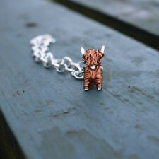 Handmade silver and copper Highland Cow charm bracelet, Highland Cow jewellery