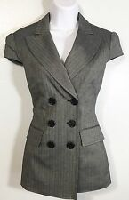 BCBG MAX AZRIA Hailey BLAZER Suit Jacket GRAY PINSTRIPE Size S Double Breasted