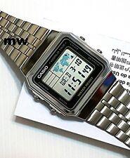 New CASIO Vintage Retro Silver A500WA-1 A-500WA-1 World Time Alarm Map Display