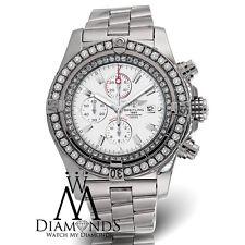 Diamond Breitling Super Avenger A13370 White Face Diamond Bezel Authentic Watch