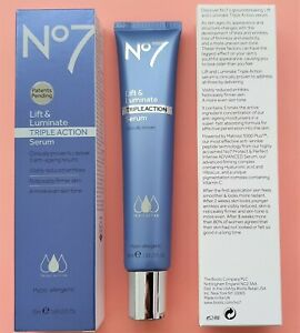Boots No. 7 Triple Action Lift and Luminate Serum - 1 x 50ml [BOXED]