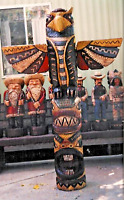 John Gallagher Carved Wooden 8 ft Totem Pole cigar store Indian Aspen Log