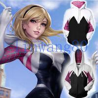 Lady Spider-Man Spider Gwen Cosplay Hoodie Hooded Coat Zipper Sweatshirt Jacket