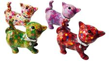 Pomme Pidou Kitty Cat Colorful Baby Shower Piggy Bank NEW Pink Flowers Cute